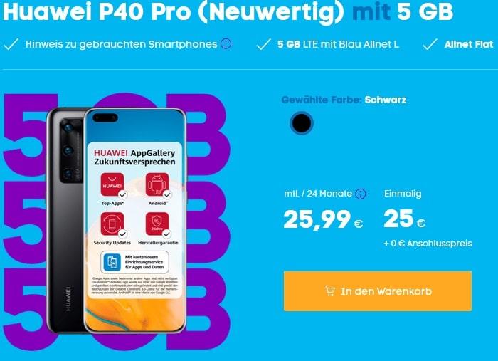 Huawei P40 Pro als neuwertige B-Ware mit Blau Allnet L bei Blau