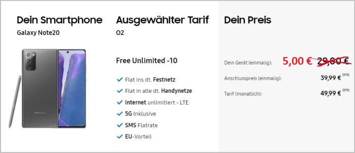 Note 20 mit o2 Free Unlimited 5 Euro
