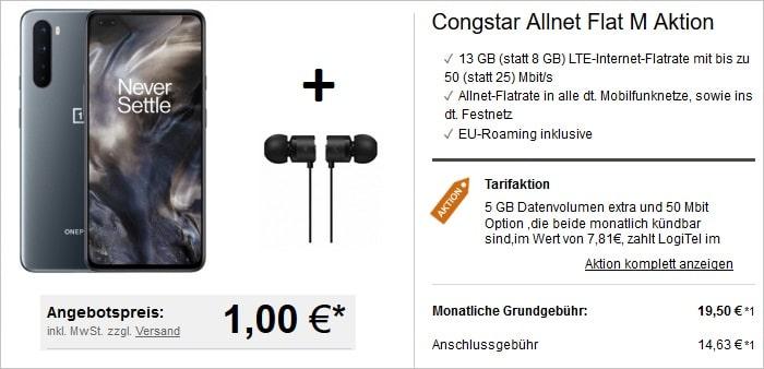 OnePlus Nord 5G mit OnePlus Kopfhörer zur Congstar Allnet Flat M bei LogiTel