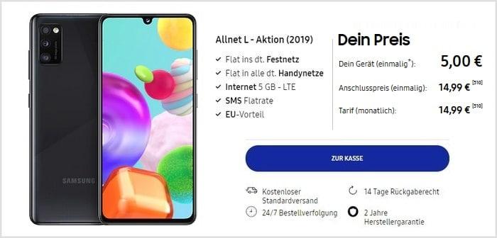 Samsung Galaxy A41 mit Blau Allnet L bei Samsung neu