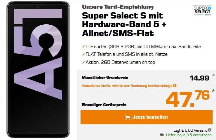 Samsung Galaxy A51 mit Super Select S im Telefonica Netz bei Saturn