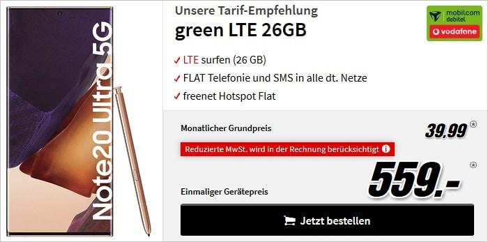 Samsung Galaxy Note 20 Ultra mit green LTE 26 GB im Vodafone-Netz bei MediaMarkt