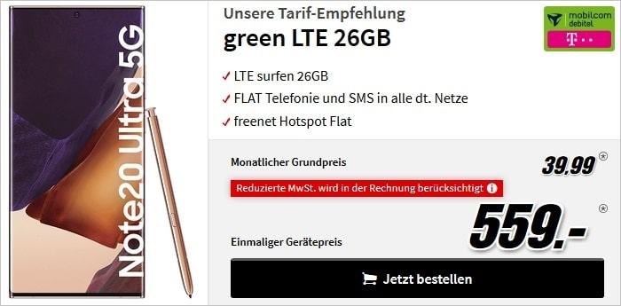 Samsung Galaxy Note 20 Ultra zum md green LTE 26 GB im Telekom-Netz bei MediaMarkt