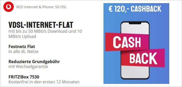 Vodafone Red Internet und Phone DSL 50 mit Cashback oder Zugabe bei Sparhandy