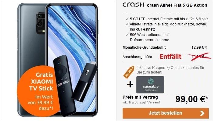 Xiaomi Redmi Note 9 Pro mit crash Allnet Flat und 5 GB LTE im Vodafone-Netz + TV Stick Aktion bei LogiTel