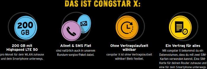 congstar x Tarif, 200 GB, Allnet-Flat