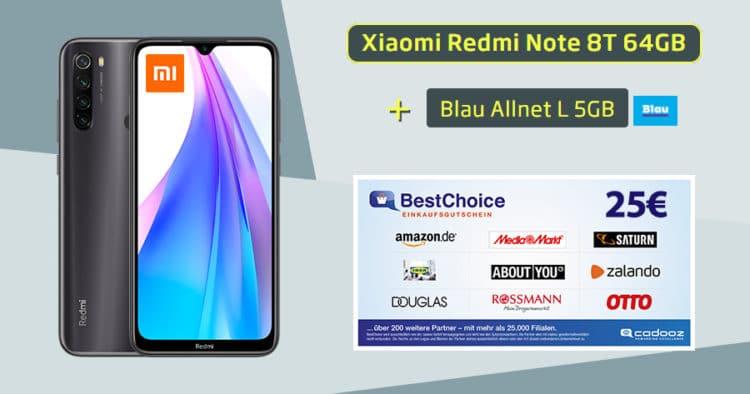 Xiaomi Redmi Note 8T mit Blau Allnet L im Handyhase Bonusdeal