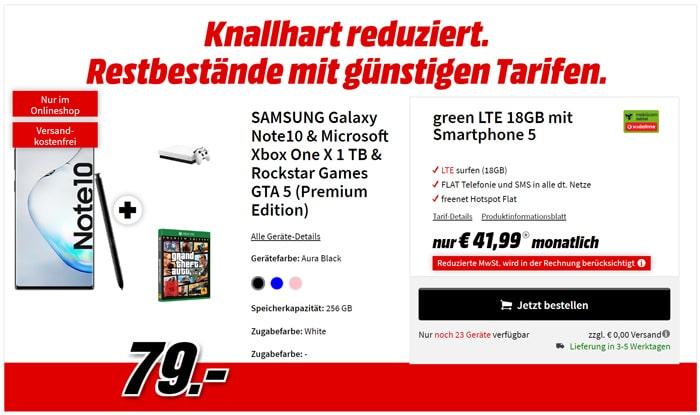 Samsung Galaxy Note 10 + Xbox One X Weiß + GTA 5 + mobilcom-debitel green LTE (Vodafone-Netz)