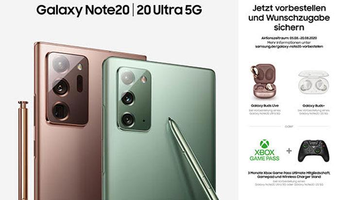 amsung Galaxy Note 20 und Note 20 Ultra 5G - Galaxy Buds Aktion, Zugaben