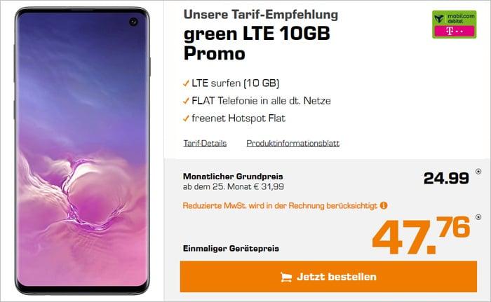 Samsung Galaxy S10 mit Allnet-Flat und 10 GB LTE im Telekom-Netz - mobilcom-debitel green LTE
