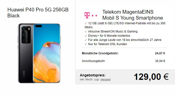 Huawei P40 Pro Plus + Telekom MagentaEINS S Young bei LogiTel