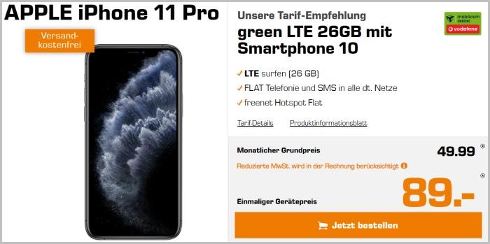 iPhone 11 Pro mit Vertrag green LTE (Vodafone-Netz)