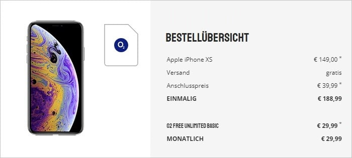 iPhone Xs + o2 Free Unlimited Basic bei Sparhandy