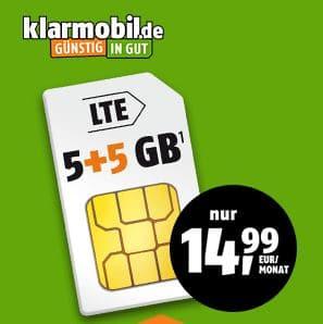 klarmobil Aktion im Telekom-Netz, Allnet-Flat mit 5 GB LTE Datenvolumen geschenkt