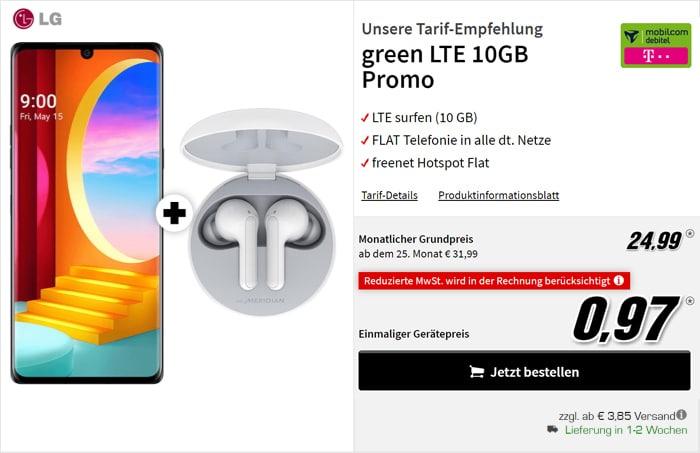 Top! LG Velvet + Allnet-Flat mit 10 GB LTE @#@ (Tarif: md green LTE Telekom-Netz)