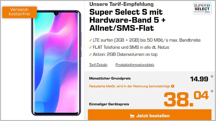 Xiaomi Mi Note 10 lite mit Super Select S bei Saturn