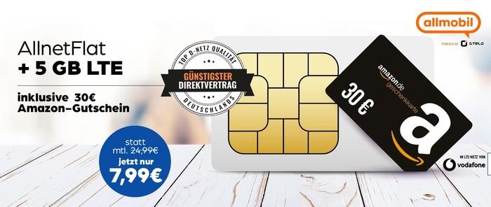 Allmobil Allnet Flat mit 5 GB LTE Vodafone Netz Amazon Gutschein bei Preisboerse24