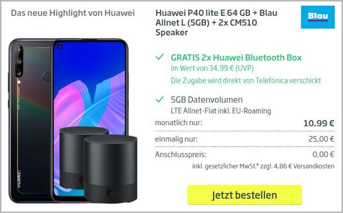 Huawei P40 Lite mit Blau-Vertrag und zwei Lautsprechern