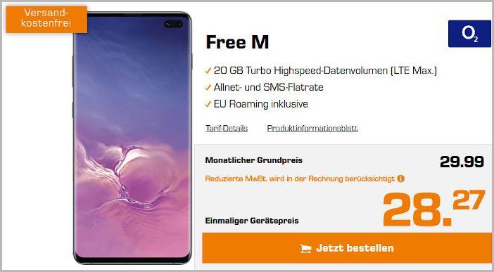 Samsung Galaxy S10 Plus mit o2 Free M bei Saturn