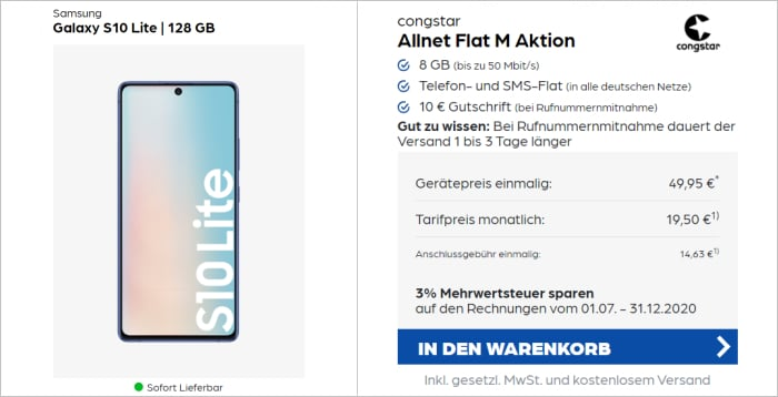Samsung Galaxy S10 Lite zur Congstar Allnet Flat M bei pb24