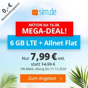 sim.de LTE All 6 GB Aktion August 2020 Thumbnail