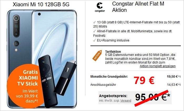Xiaomi Mi 10 und congstar Allnet-Flat im Telekom-Netz