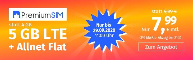 PremiumSIM 5 GB und 12 GB LTE zum Aktionspreis September 2020