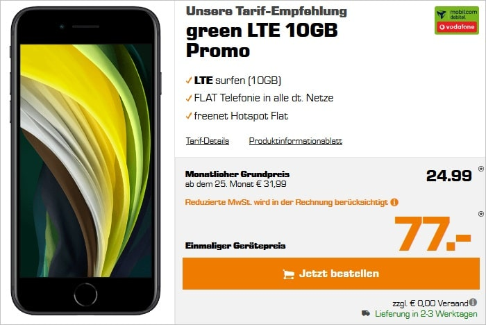 Apple iPhone SE 2020 mit mobilcom-debitel green LTE 10 GB im Vodafone-Netz bei Saturn