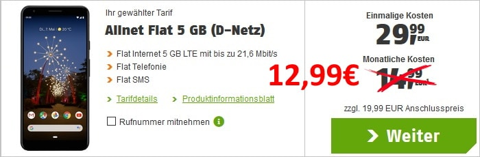 Google Pixel 3a XL + klarmobil Allnet Flat im Vodafone-Netz bei klarmobil
