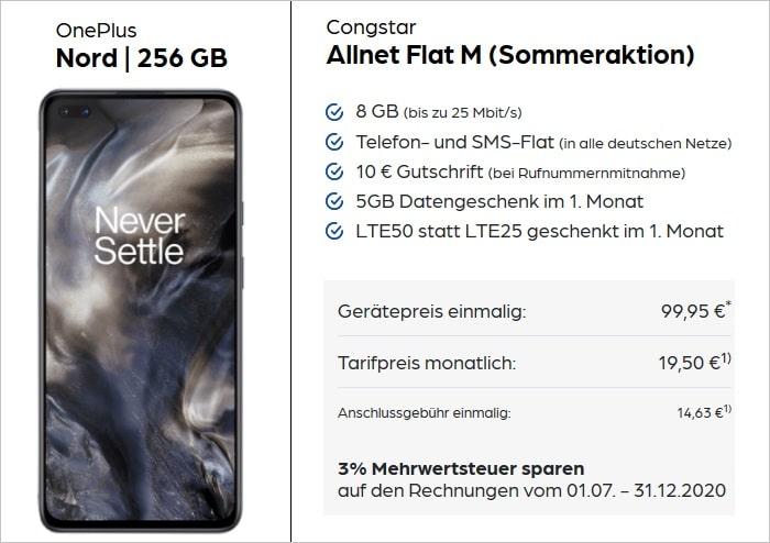 OnePlus Nord 256GB mit congstar Allnet Flat M bei Preisboerse24