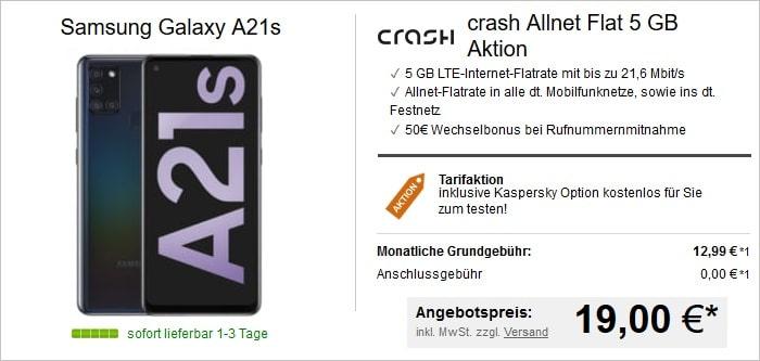 Samsung Galaxy A21s mit crash Allne-Flat 5 GB bei LogiTel