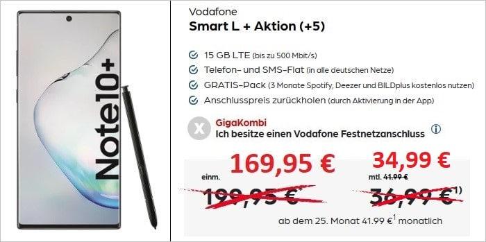 Samsung Galaxy Note 10 Plus mit Vodafone Smart L Plus