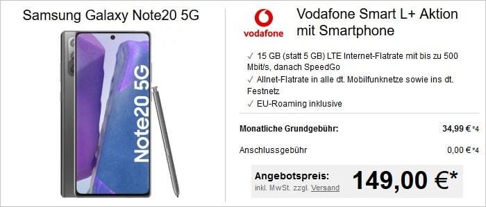 Samsung Galaxy Note 20 (5G) mit Vodafone Smart L Plus bei LogiTel