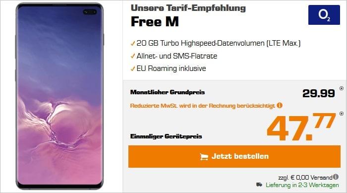 Samsung Galaxy S10 Plus mit o2 Free M und 20 GB LTE bei Saturn