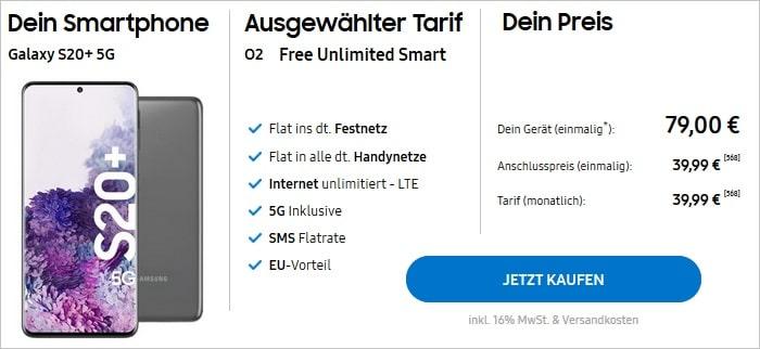 Samsung Galaxy S20 Plus 5G mit o2 Free Unlimited Smart im Samsung Shop