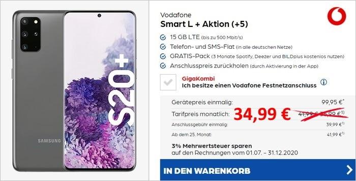 Samsung Galaxy S20 Plus + 50 € Startguthaben + Vodafone Smart L Plus bei Preisboerse24