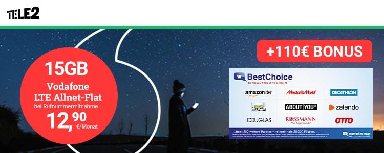 Tele2 15 GB Allnet-Flat Aktion Handyhase Bonusdeal