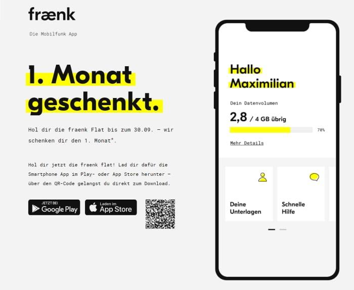 fraenk 1 Monat kostenlos per App