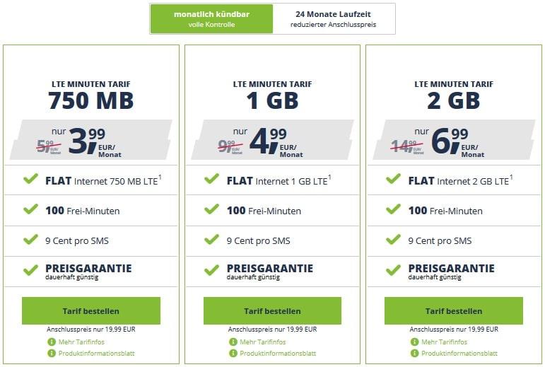 freenet Mobile LTE Minuten Tarife im Telekom- oder Vodafone-Netz