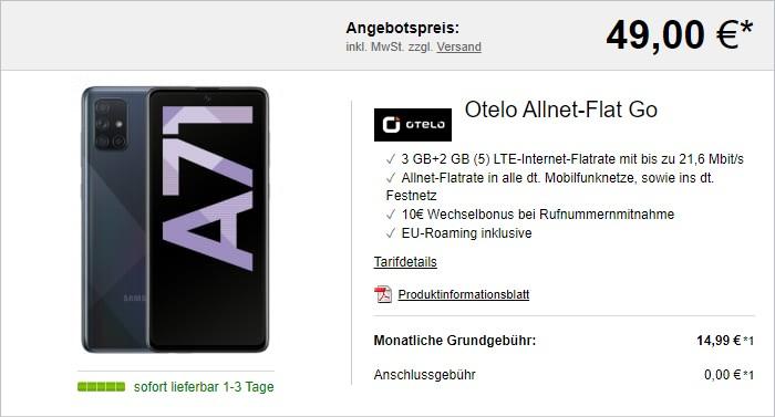 Samsung Galaxy A71 + otelo Allnet Flat Go bei LogiTel