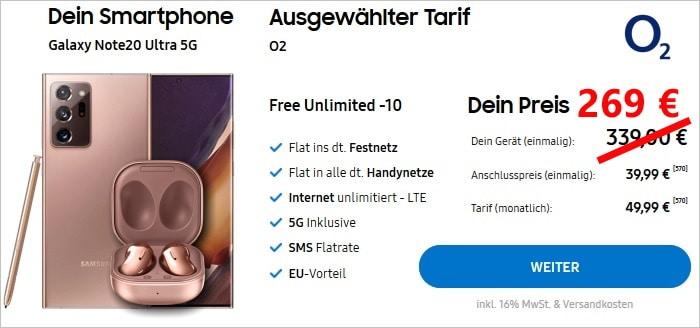 Samsung Galaxy Note20 Ultra 5G + Samsung Galaxy Buds Live + o2 Free Unlimited im Samsung Online-Shop