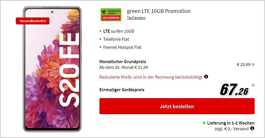 Samsung Galaxy S20 FE + mobilcom-debitel green LTE (Vodafone-Netz) bei MediaMarkt