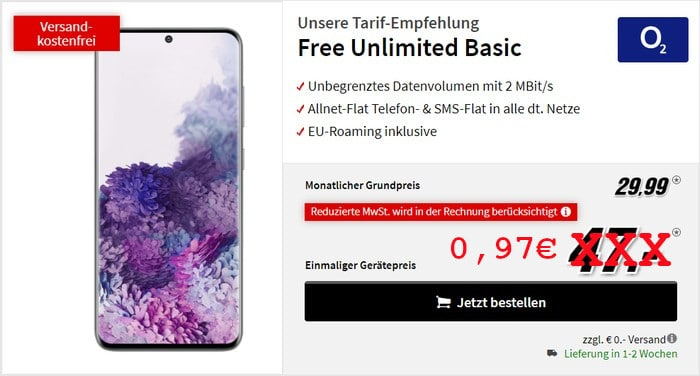 Galaxy S20 mit o2 Free Basic