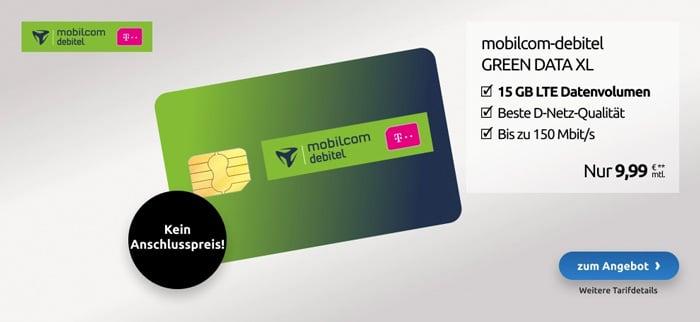 Daten-Knaller! 15 GB LTE im Telekom-Netz mit nur 9,99 € mtl. Grundgebühr (Tarif: md green Data XL)