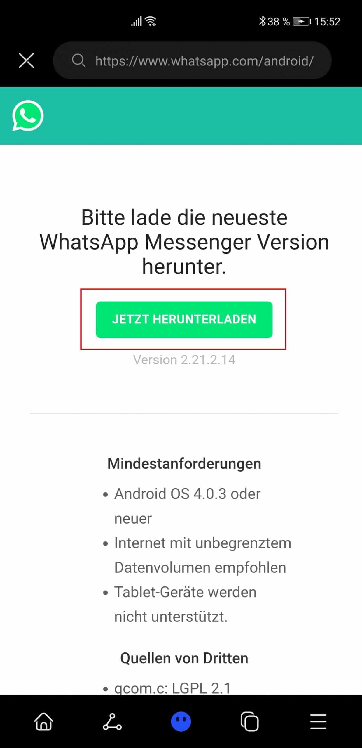 WhatsApp von offizieller Seite herunterladen