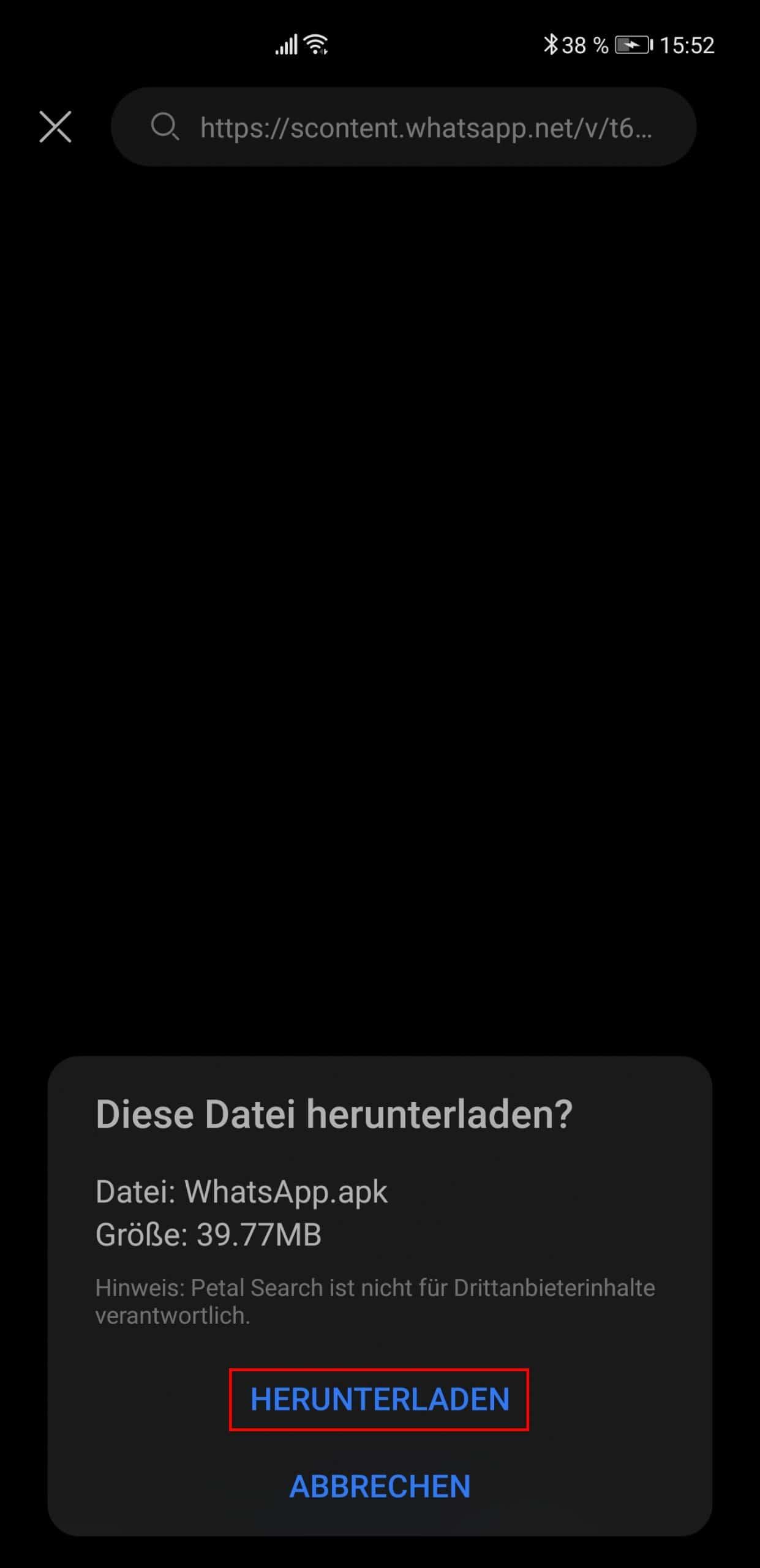 WhatsApp Download bestätigen
