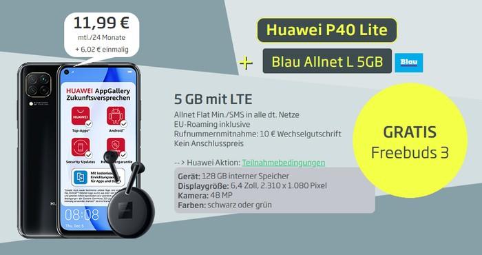 Huawei P40 Lite + Huawei FreeBuds 3 + Blau Allnet L bei Curved