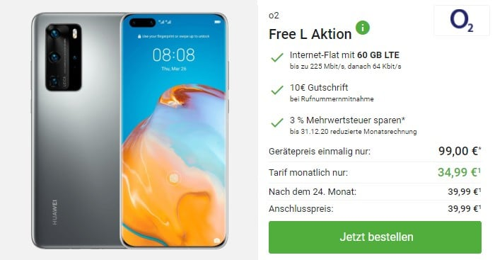 Huawei P40 Pro + o2 Free L bei DeinHandy