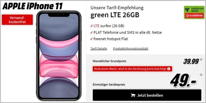 iPhone 11 mit green LTE 18 GB im Vodafone-Netz bei MediaMarkt