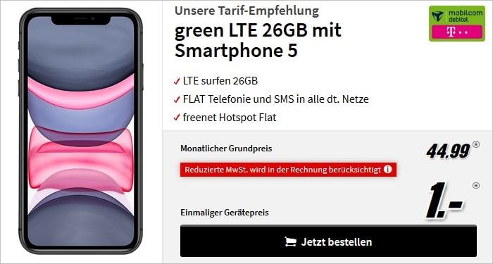 iPhone 11 mit mobilcom-debitel green LTE 26 GB im Telekom-Netz bei MediaMarkt